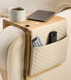 Create a chair work cady to store remotes and keep items handy!
