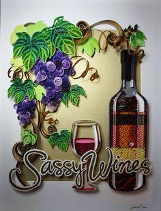 Papier fait main quilling - vins impertinent, réalisé sur commande, encadrée dans la zone d'ombre, art mural