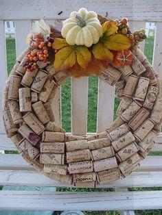 Wine cork fall wreath