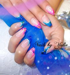 """""""Summer Fresh""""   Pink and blue. Using new collection WONDERLAND on the tips   Square stilettos"""