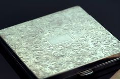 Antique Sterling Silver Engraved Compact