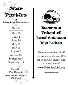 Join WKAA for an evening Star Party as members share a little star knowledge with you. Fun for the entire family! www.landbetweenthelakes.us