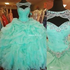 f960b35ee4e Custom Made Mint Green Ball Gown Quinceanera Dresses Sweetheart Sheer  Beaded Neck Corset Back Ruffles Organza Plus Size Debutante Prom Gowns  Burgundy ...