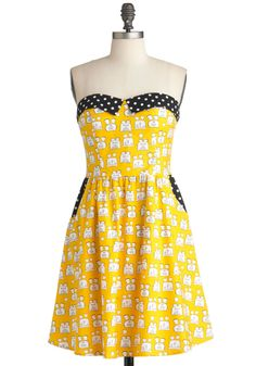 A Toast to Julie Dress - Yellow, Black, White, Polka Dots, Novelty Print, Pockets, Party, A-line, Strapless, Statement, Mid-length
