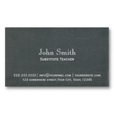 Simple Chalkboard Subsute Teacher Business Card