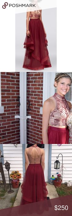 Burgundy two-piece prom dress, size 1 •worn once for a few hours •top pies is nude in color with jewels  •bottom has a silk underskirt and the rest flows out and is a chiffon material    be sure to check out my other name brand products! David's Bridal Dresses Prom