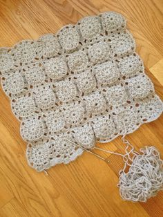 A crocheted baby blanket using our amended Crafting Kit Pattern. #granny #squares #crochet