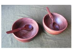 Carved spoons and turned bowls