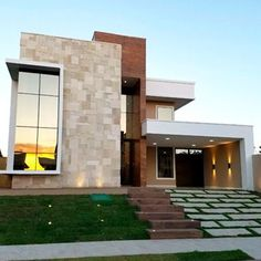Awesome Modern House Design for Your Dream House House Front Design, Modern House Design, Facade Architecture, Residential Architecture, Bungalow Haus Design, Style At Home, Modern Mansion, House Elevation, Facade House
