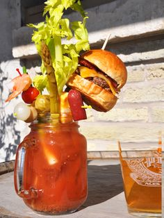 Bloody brilliant: A bloody Mary garnished with, yes, a cheeseburger. My life would be better with this in it!
