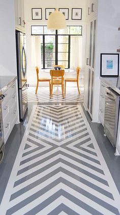 Painted floor Before and After: Remodeled Houston Home - Traditional Home painted concrete floors Small bathroom organization and storage Ta. Style At Home, Floor Design, House Design, Chevron Floor, Chevron Tile, Grey Chevron, Gray Floor, Painted Concrete Floors, Painted Floorboards