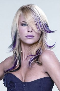 Edgy Blonde and Purple Straight Haircut