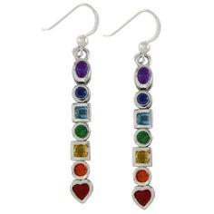 Sterling Silver Seven Chakra Stone Dangle Earrings - http://www.sparklingheaven.com/chakra-jewelry/sterling-silver-seven-chakra-stone-dangle-earrings/