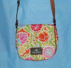 LILY BLOOM Floral CROSSBODY Bag Purse Handbag -Hot Pink Lining - CLEAN - EUC #LilyBloom #MessengerCrossBody