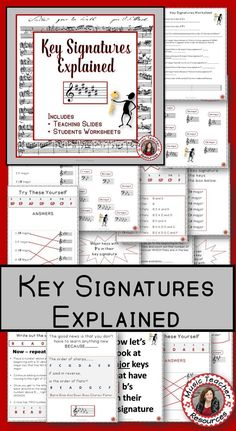 Music lessons   |  music theory   |   This is a Goldmine of information and music worksheets for your music class  |   Keys and Key Signatures Explained  The 40 page file contains:   ♫ Teaching slides   ♫ Student quizzes  ♫ Student worksheet  ♫ Answer sheets       CLICK through to preview or save for later!  ♫   #musiceducaton