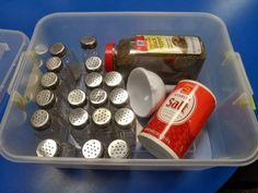 Great functional task to set up in your vocational classroom. Following picture directions and fine motor practice. There is even a link for FREE step by step picture directions. Read more at: http://empoweredbythem.blogspot.com/2014/02/salt-pepper-filling-activity-box.html More
