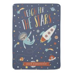 Shop Reach for the Stars - Space Sloth - Custom Name Receiving Blanket created by Sugarcoating. Soft Baby Blankets, Receiving Blankets, Animal Art Prints, Star Blanket, Nursery Themes, Nursery Ideas, Unique Poster, Reaching For The Stars