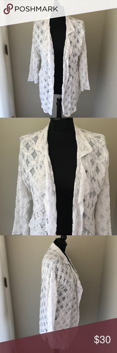 Pleione White Lace Overlay Jacket NWT New with tags white Lace Overlay jacket by Pleione. Great layering piece for Spring. Slightly oversized and could fit a small/medium. Pleione Jackets & Coats