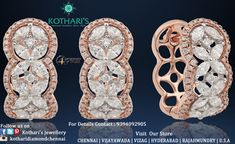 BEAUTIFUL COLLECTION OF ROSE GOLD  By Kothari's Chennai. Trendy Jewelry, Cute Jewelry, Metal Jewelry, Diamond Jewellery, Diamond Earrings, Best Diamond Rings, Quality Diamonds, Chennai, Designer Earrings