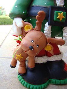 porcelana fria pasta francesa masa flexible fimo gumpast fondant pasta goma figurine topper christmas navidad pascua natal xmas santa noel deer