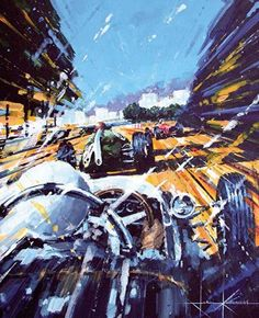 """1961 Monaco Grand Prix - Stirling Moss in the winning Climax Type 18 of Rob Walker following the Cooper Climax T55 of Jack Brabham and the Ferrari 156 of Richie Ginther by John Ketchell Acrylic on board - framed Size: 22"""" x 17"""""""