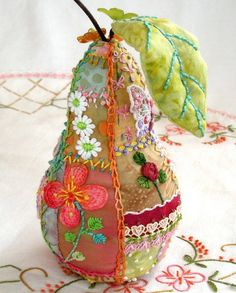 Stunning Patchwork and Embroidery Pear
