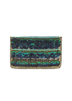 Peacock feather clutch bag. By Matthew Williamson.
