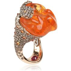 ITALIAN-DESIGN Lava Ring ($26,087) ❤ liked on Polyvore featuring jewelry, rings, orange opal, orange jewelry, orange ring, band jewelry, italian design jewelry and band rings