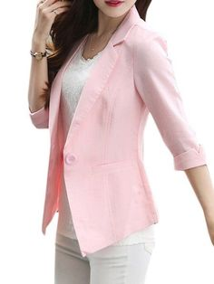 Plain Pockets Single Breasted Chic Lapel Blazers Only $35.95 USD More info...