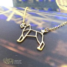 Airedale Terrier Necklace, Welsh Terrier Dog Jewelry, Pet gift, Origami jewelry, Best friend gift by glorikami on Etsy Welsh Terrier, Airedale Terrier, Pet Gifts, Dog Lover Gifts, Gifts For Friends, Gifts For Her, Dog Jewelry, Unique Jewelry, Origami Jewelry