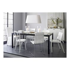 Parsons Glass Top 72x42 Dining Table with Natural Dark Steel Base in Dining Tables | Crate and Barrel