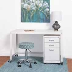 Industrial Modern White 48-inch Mobile Desk Rolling Cart - Free Shipping Today - Overstock.com - 19886815 - Mobile