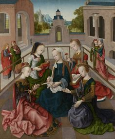 The Virgin and Child with Four Holy Virgins.Saint Catherine is wearing a chest brooch in the shape of a wheel and a sword. Saint Cecilia is holding a book and wears a necklace with an organ-shaped pendant. Saint Barbara  in red, holds a flower and wears a miniature tower on her necklace. Saint Ursula  with braided hair, wears a necklace with heart and arrow.
