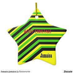 Jamaica jamaica Double-Sided star ceramic christmas ornament