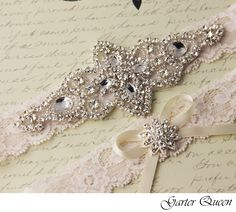 Wedding garter set, Ivory stretch lace Bridal Garter set, Heirloom Rhinestone and Crystal garters from VioGemini on Storenvy