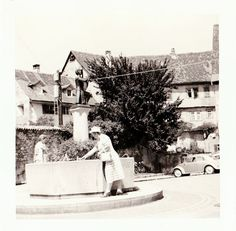 "Vintage 1960s Photo Bregenz Austria Fountain Vintage VW Beetle 3.5"" x 3.5"""