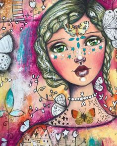 This girl (made of stars) is almost finished now. Hello I'm Tam, and I'm a doodle addict. :) a video of the making of this painting will be up on YouTube soon :) #stargirl #willlowing #willowingarts #mixedmediaart