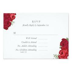 Rose Wedding RSVP Elegant Mason Jar RSVP Card - Red