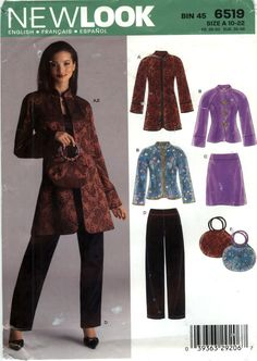 New Look 6519 Misses' Jacket, Coat, Top, Skirt, Pants and Handbag Seven Sizes in One