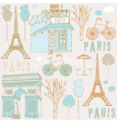 Paris symbols vector by zolssa on VectorStock®