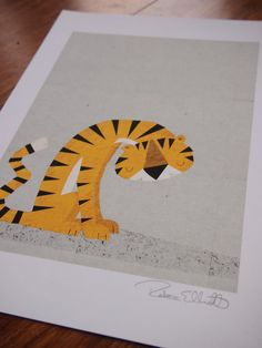 'The Thoughtful Tiger'  retro modern signed print -  £12.00 on Etsy