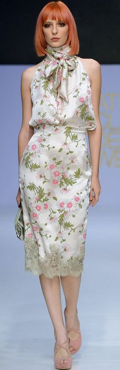 Beautiful Spring Floral High Collar Midi Silk Dress ~ via V