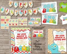 COMBO for LITTLE MONSTER Party Kit for Boy or Girl by DandeAve