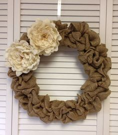 Large Burlap Wreath with Burlap Flowers by ContemporaryCrafting