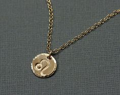 Leo Necklace - Gold Filled Hand Stamped Zodiac Jewelry - August Zodiac Sign Leo is the 5th sign of the #zodiac. For more about #Leo and #astrology visit: www.TheAstrologer.com/Leo