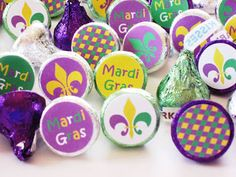 Mardi Gras Party Printables - Hershey Kiss Stickers-- put sticker under plate in exchange for king cake game.