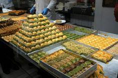 Various types of baklava at Hafiz Mustafa 1864 Turkish Baklava, Hafiz, Grilled Vegetables, Istanbul, Turkey, Food And Drink, Breakfast, Damascus, Backpack