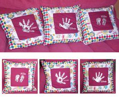 perfect christmas gift for a grandma who has everything.... personalised cusions with hand prints of my kids....