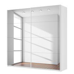 Schwebetürenschrank spiegelfront  Schwebetürenschrank Quadra (Spiegel) - Grau-metallic - Breite x ...
