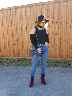 Black Cold Shoulder Bodysuit With Choker by Make Me Chic